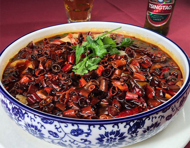 chinese seafood from Z & Y restaurant with flaming chili oil