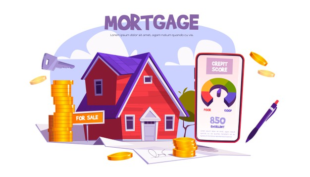 Mortgage, loan for home purchase. mobile application with credit score for property buy or build. Free Vector